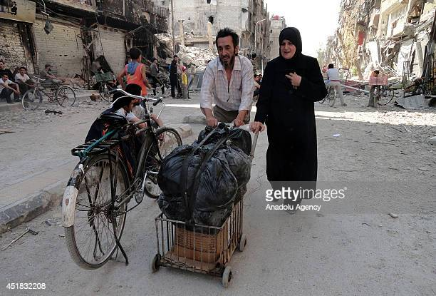 The United Nations Relief and Works Agency for Palestine refugees in the near east provide food assitance for Palestinian refugee camp of Yarmouk in...