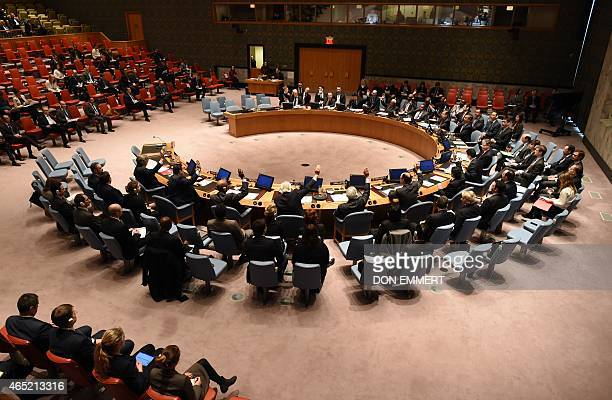 The United Nations Security Council votes during a meeting on nonproliferation in North Korea on March 4 2015 at the United Nations in New York AFP...