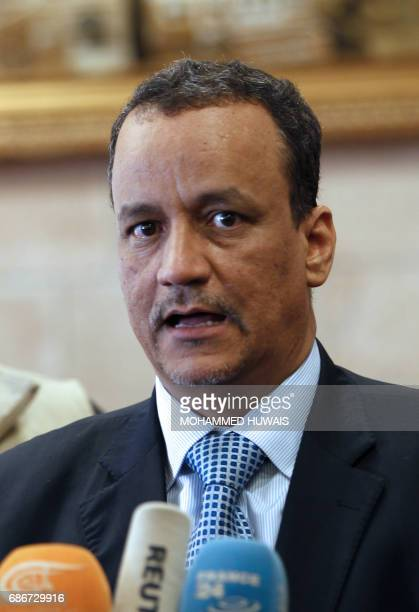 The United Nations Special Envoy to Yemen Ismail Ould Cheikh Ahmed speaks to the press upon his arrival at Sanaa international airport on May 22 2017...