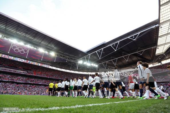 The United State team takes the field to take ok Japan in the Women's Football gold medal match on Day 13 of the London 2012 Olympic Games at Wembley...