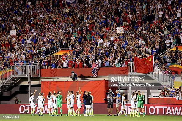 The United States acknowledge the crowd after defeating China 10 in the FIFA Women's World Cup 2015 Quarter Final match at Lansdowne Stadium on June...