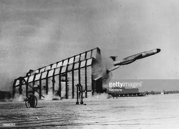 The United States Air Force Martin Mace TM76 missile being launched during an Air Force test in New Mexico