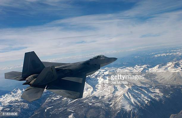 The United States Air Force's F/A22 Raptor which will replace the F15 bomber and is the first supersonic stealth fighter plane ever created flys over...