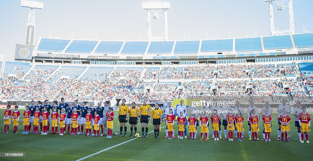 The United States and Scotland are introduced to the crowd before the game at EverBank Field on February 9, 2013 in Jacksonville, Florida.