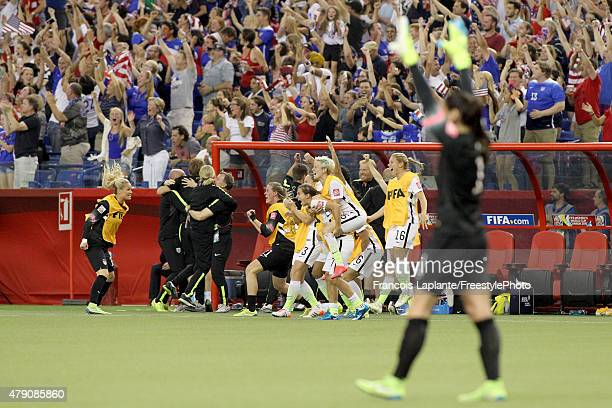 The United States bench celebrates after Kelley O'Hara of the United States scores in the second half against Germany in the FIFA Women's World Cup...