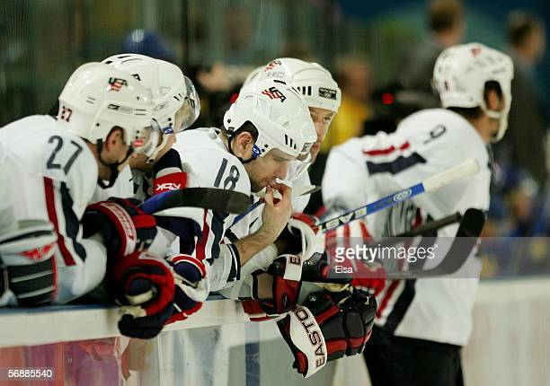 The United States' bench looks dejected after losing to Sweden 21 in their men's ice hockey Preliminary Round Group B match during Day 9 of the Turin...