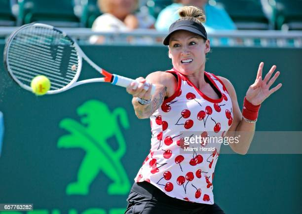The United States' Bethanie MattekSands hits to Russia's Anastasia Pavlyuchenkova in the third round of the Miami Open at Crandon Park in Key...