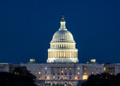 The United States Capitol Building at night