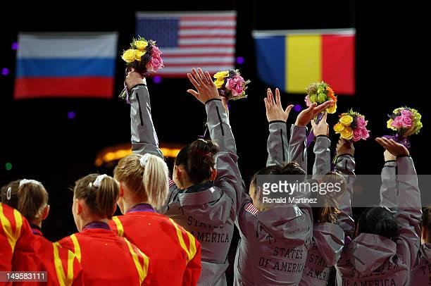 The United States celebrate after winning the gold medal in the Artistic Gymnastics Women's Team final on Day 4 of the London 2012 Olympic Games at...