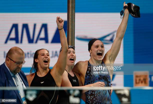 The United States celebrate victory in the Women's 4x100m Medley Relay Final on day seventeen of the Budapest 2017 FINA World Championships on July...