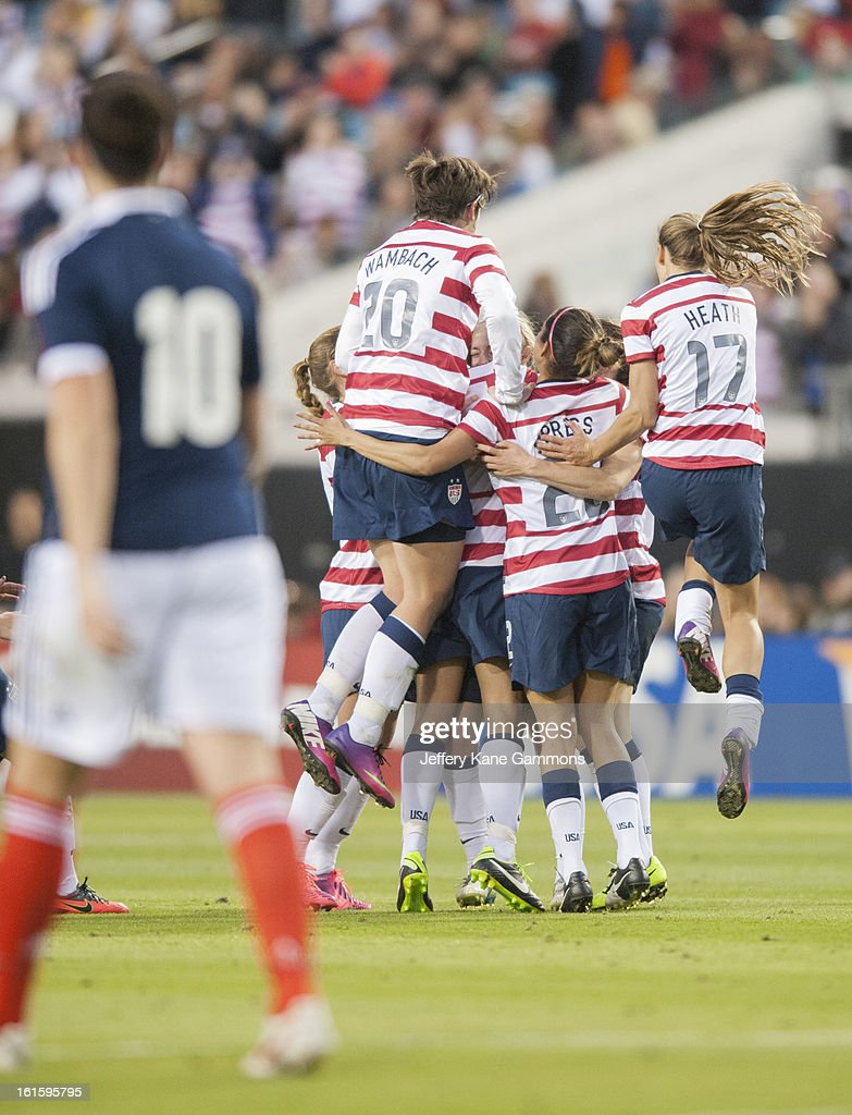 The United States celebrates a goal during the game against Scotland at EverBank Field on February 9, 2013 in Jacksonville, Florida.
