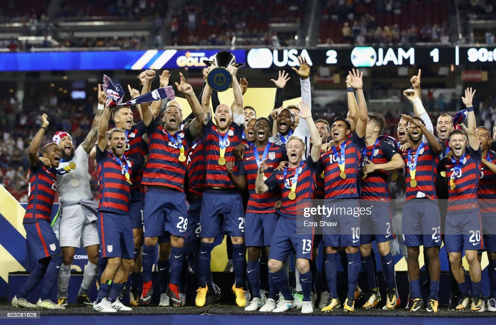 The United States celebrates after beating Jamaica in the 2017 CONCACAF Gold Cup Final at Levi's Stadium on July 26, 2017 in Santa Clara, California.