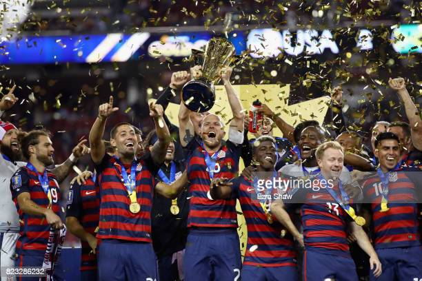 The United States celebrates after they beat Jamaica in the 2017 CONCACAF Gold Cup Final at Levi's Stadium on July 26 2017 in Santa Clara California