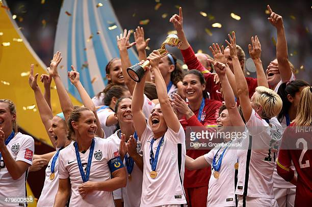 The United States celebrates after winning the FIFA Women's World Cup Canada 2015 52 against Japan at BC Place Stadium on July 5 2015 in Vancouver...