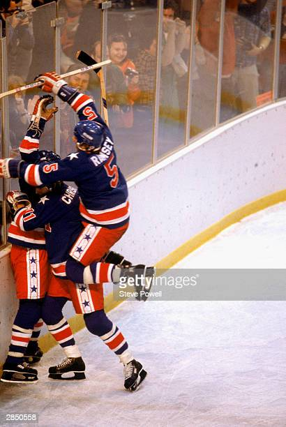 The United States celebrates after winning the gold medal during the Olympic hockey game against Finland on February 24 1980 in Lake Placid New York...