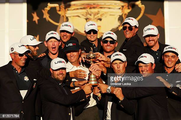 The United States celebrates during the closing ceremony of the 2016 Ryder Cup at Hazeltine National Golf Club on October 2 2016 in Chaska Minnesota