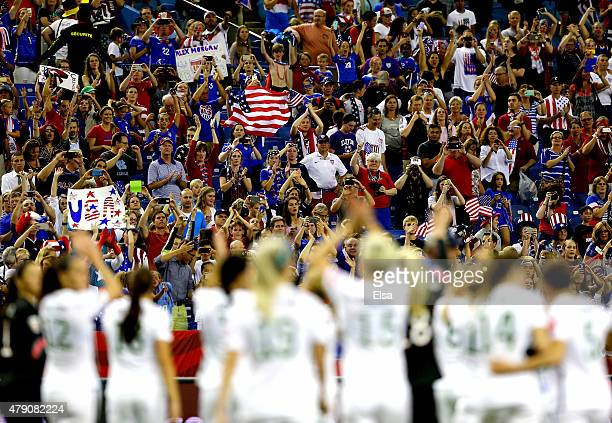 The United States celebrates the 20 victory against Germany in the FIFA Women's World Cup 2015 SemiFinal Match at Olympic Stadium on June 30 2015 in...