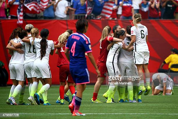 The United States celebrates the 52 victory against Japan in the FIFA Women's World Cup Canada 2015 Final at BC Place Stadium on July 5 2015 in...