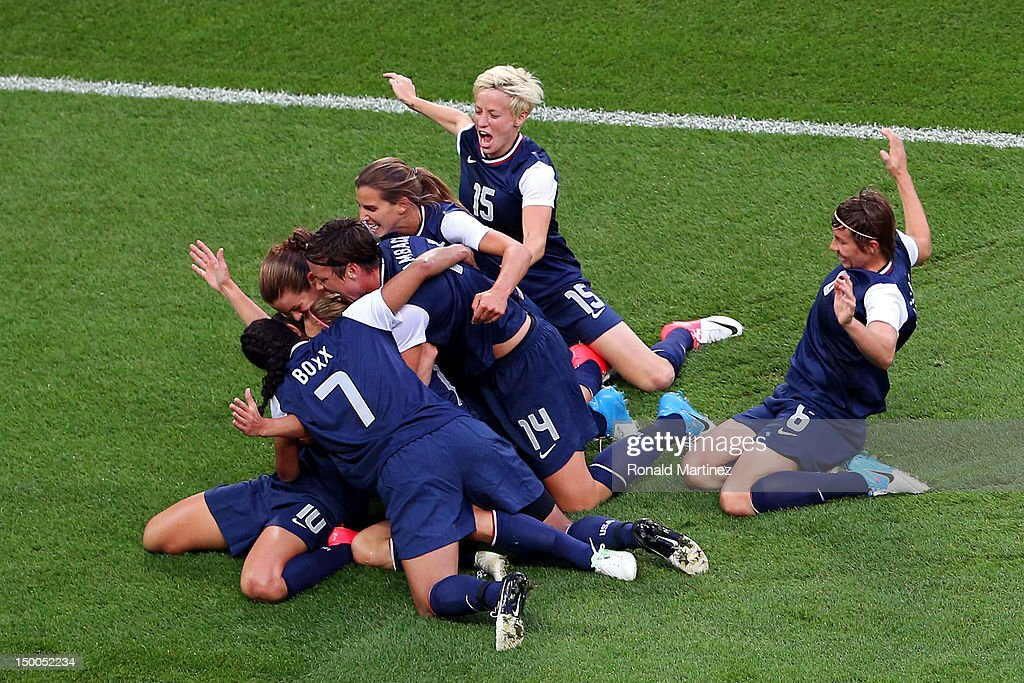 The United States celebrates the first half goal by Carli Lloyd #10 of United States against Japan during the Women's Football gold medal match on Day 13 of the London 2012 Olympic Games at Wembley Stadium on August 9, 2012 in London, England.