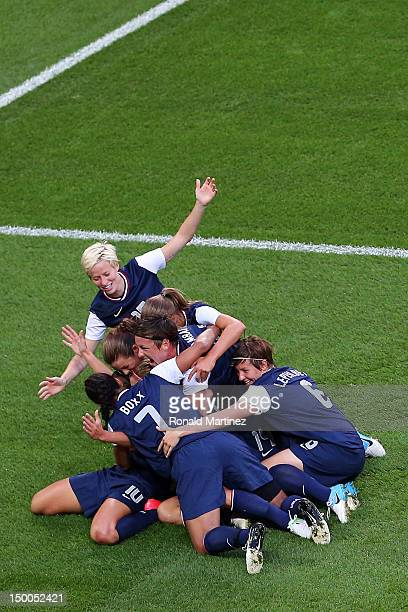 The United States celebrates the first half goal by Carli Lloyd of United States against Japan during the Women's Football gold medal match on Day 13...