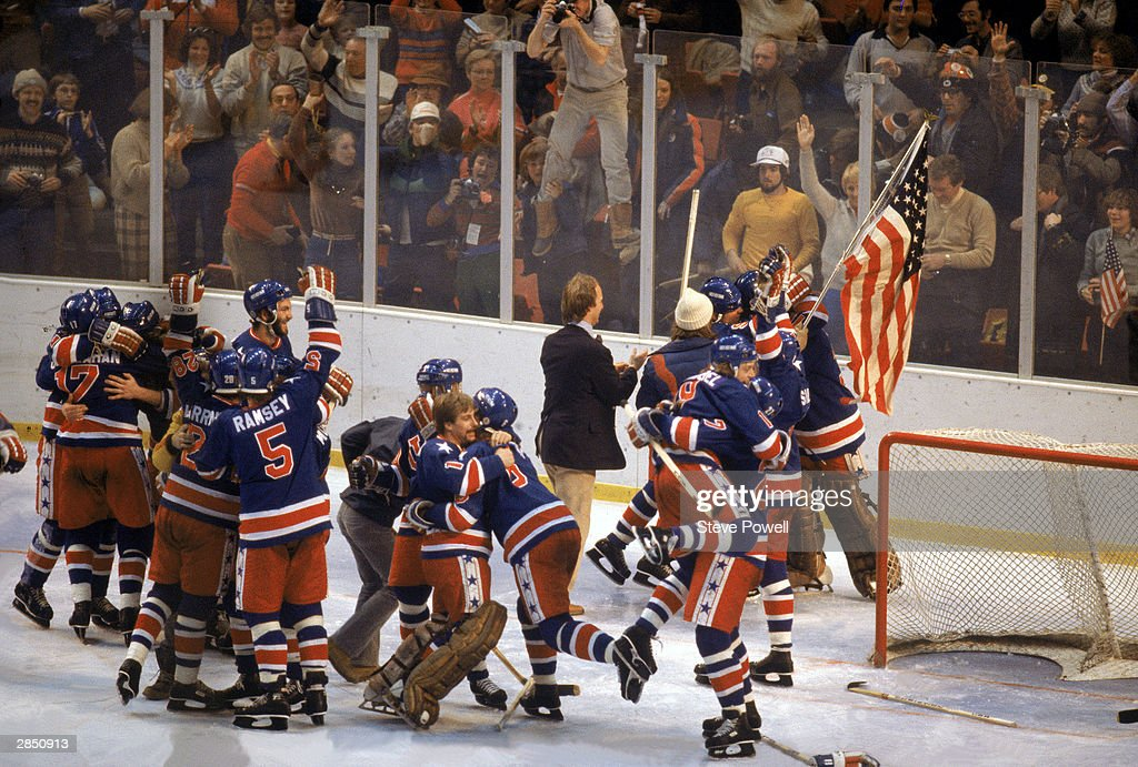 The United States celebrates winning the gold medal against Finland on February 24, 1980 in Lake Placid, New York. The United States won 4-2.