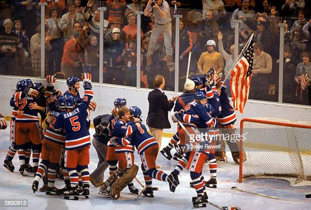 The United States celebrates winning the gold medal against Finland on February 24 1980 in Lake Placid New York The United States won 42
