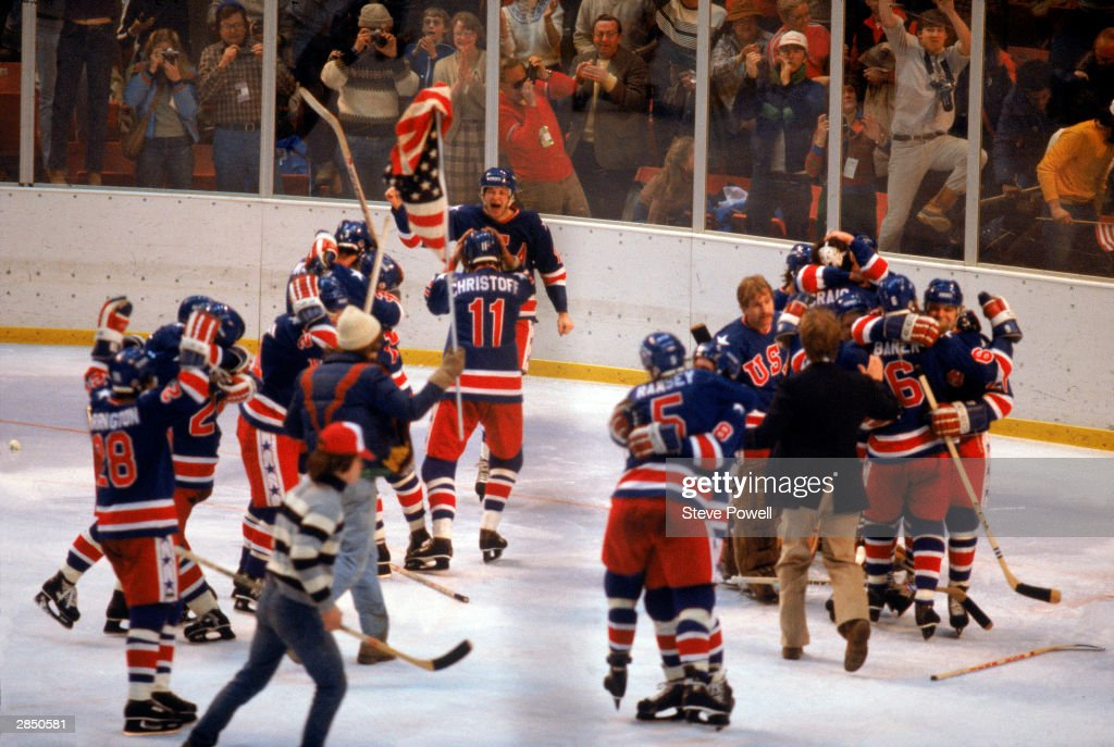 The United States celebrates winning the gold medal during the Olympic hockey game against Finland on February 24, 1980 in Lake Placid, New York. The United States won 4-2.