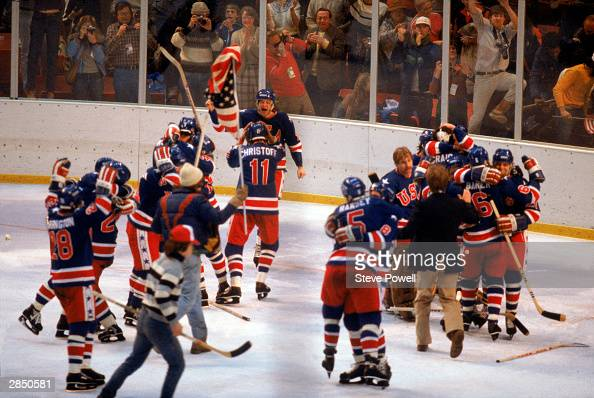 The United States celebrates winning the gold medal during the Olympic hockey game against Finland on February 24 1980 in Lake Placid New York The...