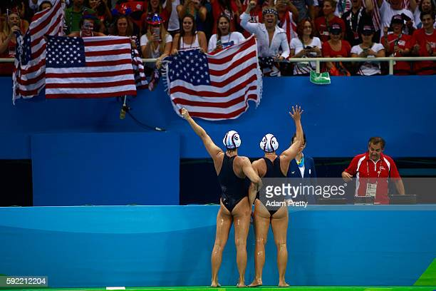 The United States celebrates winning the Women's Water Polo Gold Medal match between the United States and Italy on Day 14 of the Rio 2016 Olympic...