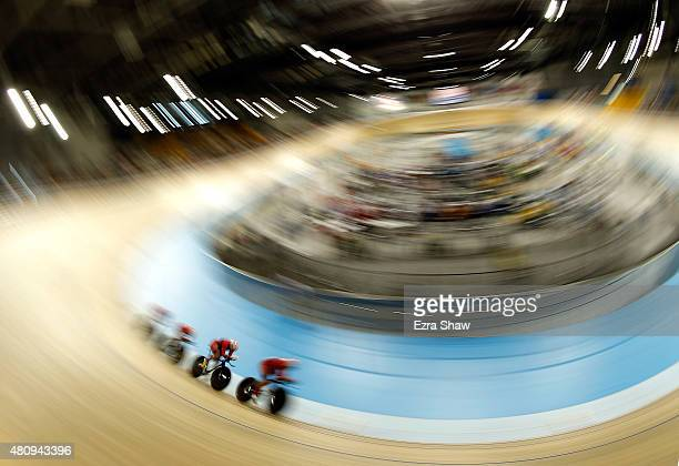 The United States competes in the track cycling women's team pursuit qualification on Day 6 of the Toronto 2015 Pan Am Games on July 16 2015 in...