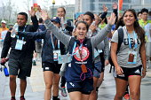 The United States' delegation arrives at the Youth Olympic Village on August 13 2014 in Nanjing Jiangsu Province of China The 2nd Summer Youth...