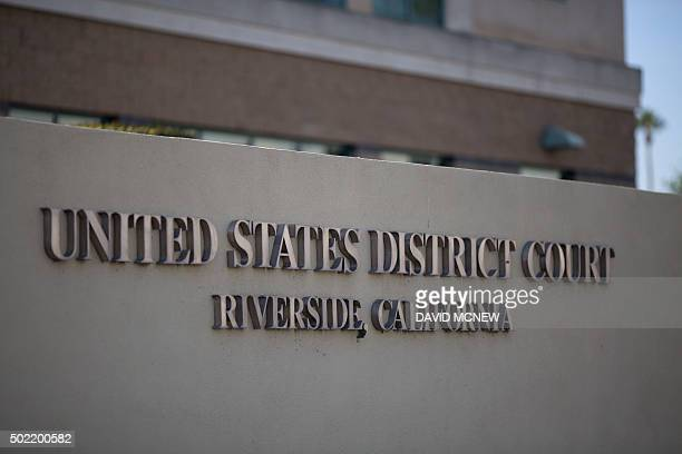 The United States District Court building is seen as Enrique Marquez appears at a detention hearing in federal court in Riverside California December...