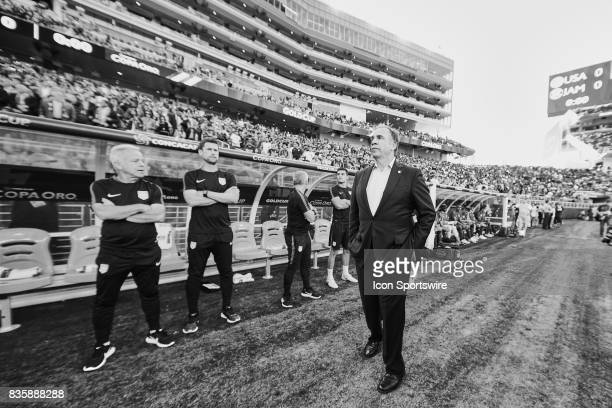 the United States head coach Bruce Arena looks on during the CONCACAF Gold Cup Final match between the United States v Jamaica at Levi's Stadium on...