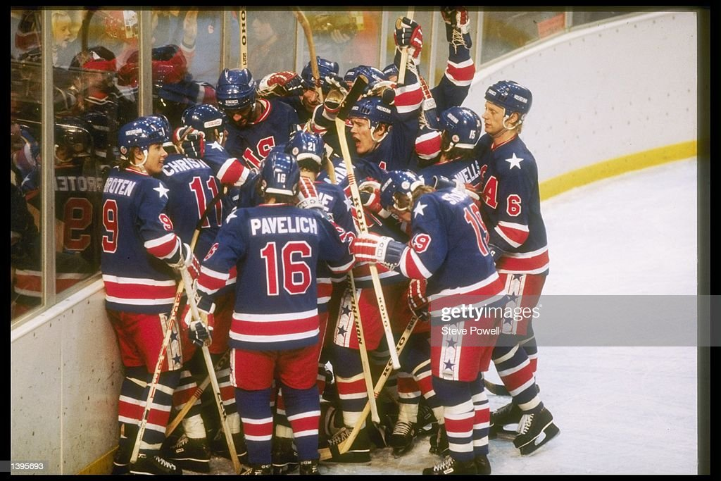 The United States hockey team gather to celebrate their victory over Finland in the gold medal game on February 24, 1980 of the 1980 Winter Olympics in Lake Placid, New York.
