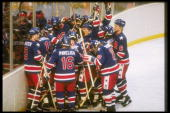 The United States hockey team gather to celebrate their victory over Finland in the gold medal game on February 24 1980 of the 1980 Winter Olympics...