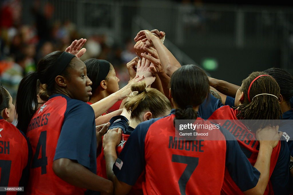 The United States huddle against Angola at the Olympic Park Basketball Arena during the London Olympic Games on July 30, 2012 in London, England.