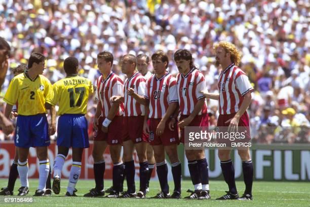 The United States line up a defensive wall Brazil Jorginho and Mazinho Mike Sorber Earnie Stewart Paul Caligiuri Marcelo Balboa and Alexi Lalas The...