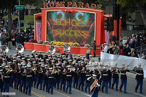 The United States Marine Corps West Coast Composite Band marches in the 128th Rose Parade in Pasadena California January 2 2017 The Rose Parade also...
