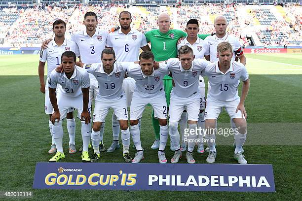 The United States men's national team poses before playing Panama during the CONCACAF Gold Cup Third Place Match at PPL Park on July 25 2015 in...