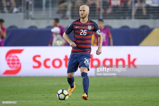 the United States midfielder Michael Bradley dribbles the ball during the CONCACAF Gold Cup Final match between the United States v Jamaica at Levi's...