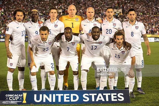 The United States National Team prior to the CONCACAF Cup between the United States and Mexico at the Rose Bowl on October 10 2015 in Pasadena...