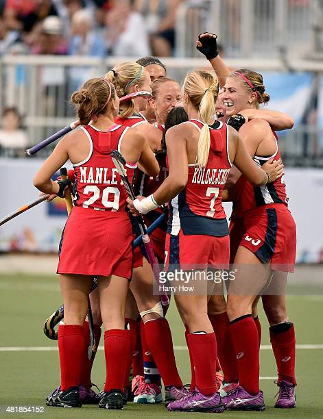 The United States of America celebrate a goal to take a 20 lead over Argentina in the women's field hockey gold medal game during the 2015 Pan Am...