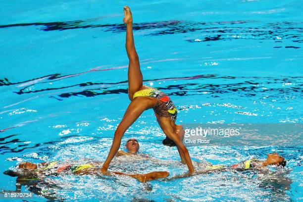 The United States of America compete during the Synchronised Swimming Team Free preliminary round on day six of the Budapest 2017 FINA World...