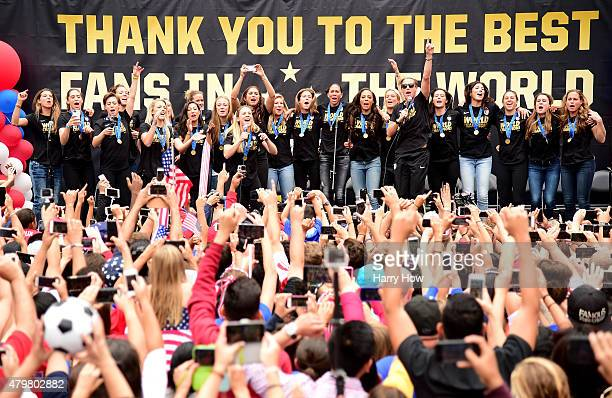 The United States of America women's soccer team lead by Abby Wambach celebrate victory of the 2015 Women's World Cup during a rally at LA Live on...