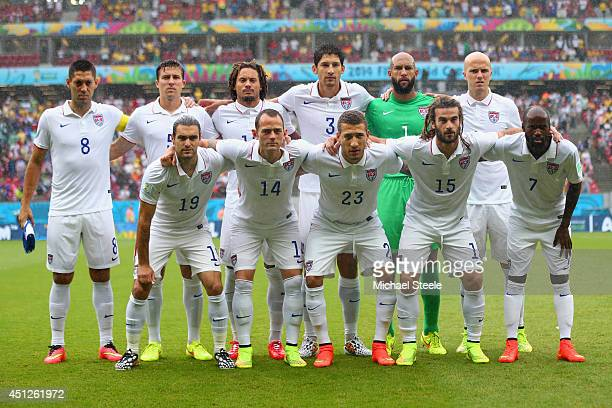 The United States pose for a team photo prior to the 2014 FIFA World Cup Brazil group G match between the United States and Germany at Arena...