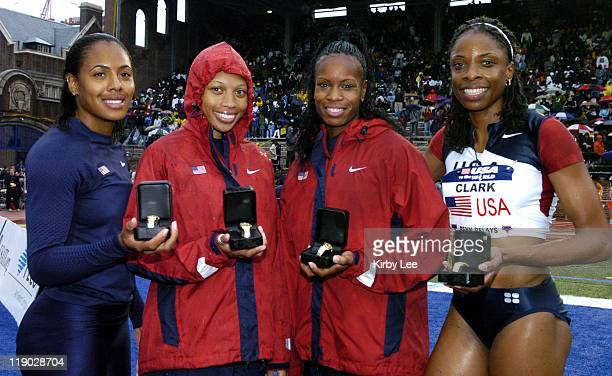 The United States Red women's sprint medley relay Debbie Dunn Allyson Felix Kia Davis and Hazel Clark after setting a worldbest of 33742 in the USA...