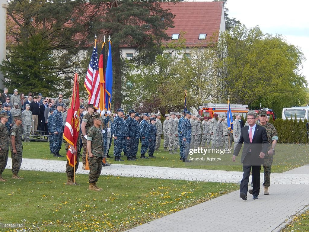 The United States Secretary of Defense Ash Carter attends the change in command ceremony held at United States European Command in Stuttgart, Germany on May 3, 2016.