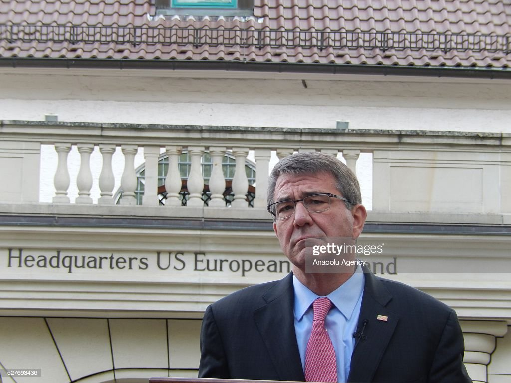 The United States Secretary of Defense Ash Carter speaks to press after the change in command ceremony held at United States European Command in Stuttgart, Germany on May 3, 2016.