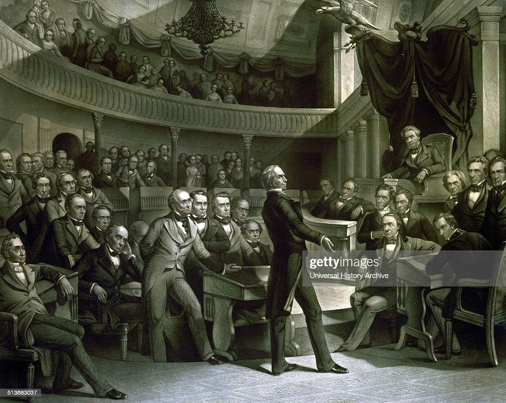 The United States Senate Senator Henry Clay speaking about the Compromise of 1850 in the Old Senate Chamber Daniel Webster is seated to the left of...