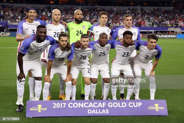 The United States starting players pose for a photo before taking on Costa Rica during the 2017 CONCACAF Gold Cup Semifinal at ATT Stadium on July 22...